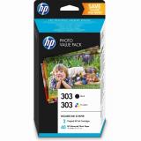 TIN HP 303 Photo Value Pack black, cyan, magenta, yellow + 40 Blatt/10x15cm Papier Z4B62EE